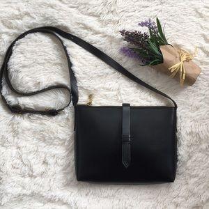 J. Crew• Black Leather Parker Crossbody Bag